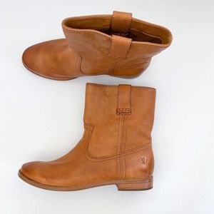 Frye Anna Shortie Carmel Leather Boot Sz 7.5